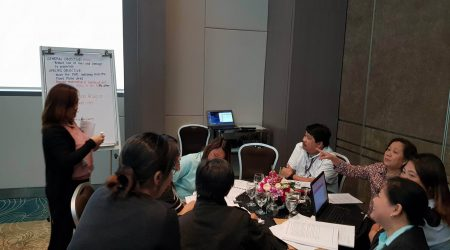Representatives of DPWH work in teams at the VE_VA Capacity Building session at the Pan Pacific Hotel, Manila in February 2018