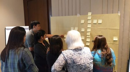 Teams at work during the Capacity Building session on the Value Analysis process led by Certified Value Specialist, Lucie Parrot (Discovery Suites, May 2018)