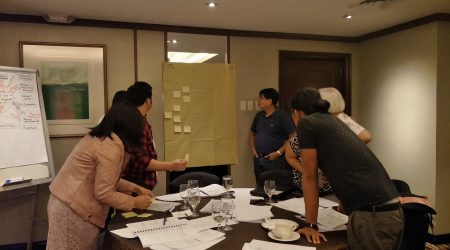 VE_VA capacity building trainees try their hand at preparing a FAST Diagram on the LRT 6 Project (Discovery Suites, May 2018)